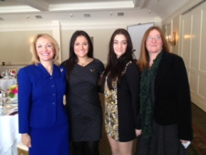 At the AAUW luncheon on March 8 with (l-r) Emily Ann Gutgold, and good friends Samantha and Kathleen Ferrizzi
